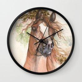 Chestnut arabian horse Wall Clock