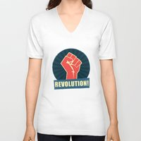 revolution V-neck T-shirts featuring REVOLUTION! by Word Quirk