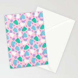 Monstera leaf house plant abstract modern print neon pink pastel summer vacation palm springs Stationery Cards