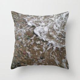 Wave Foam and Beach Rocks Throw Pillow