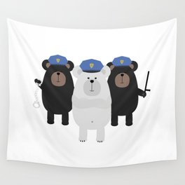 Grizzly Police Officer Wall Tapestry