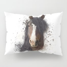 Black Brown Horse Artwork Pillow Sham