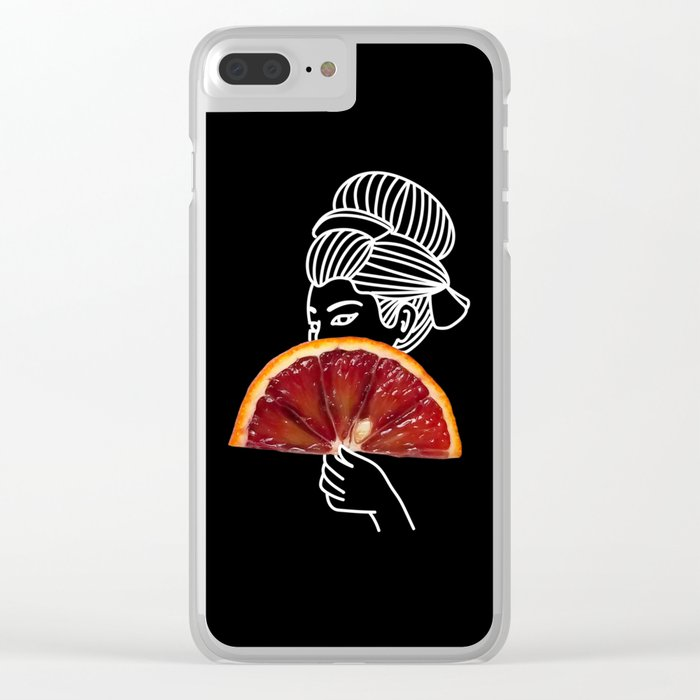 Blood Orange Geisha Clear iPhone Case