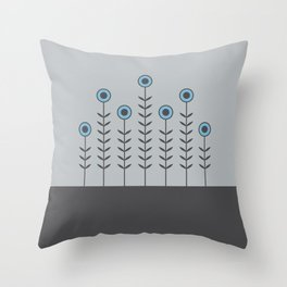 Spring Shoots (Charcoal Black, Dove Grey, Dusk Blue) Throw Pillow