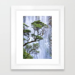 Trees and Waterfall Framed Art Print