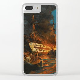 The Burning of a Turkish Frigate Clear iPhone Case