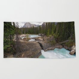 Yoho National Park mountain river forest green trees mountain landscape British Columbia Canada Beach Towel