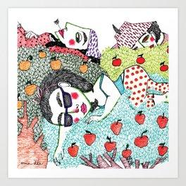 Ladies in Apple Trees Art Print