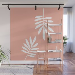 White tropical leaves Wall Mural