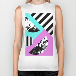 Stripes And Splats 2 - Random, Crazy, Abstract, Geometric, Black And White, Cyan, Pink Artwork Biker Tank