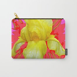 YELLOW IRIS MODERN ART RED FLORAL ABSTRACT Carry-All Pouch