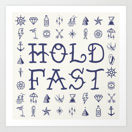 Uncle Knuckles - Hold Fast - Navy on Off White Art Print