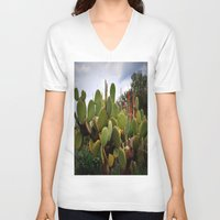 cactus V-neck T-shirts featuring cactus by  Agostino Lo Coco