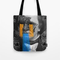 stephen king Tote Bags featuring Stephen by DIVIDUS