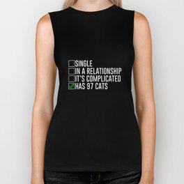 Has 97 Cats Funny Cat Lady Graphic T-shirt Biker Tank