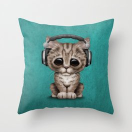 Cute Kitten Dj Wearing Headphones on Blue Throw Pillow