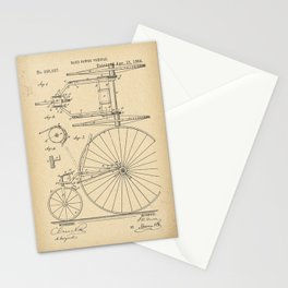 1884 Patent Velocipede Tricycle Bicycle archival history invention Stationery Cards
