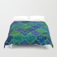 moroccan Duvet Covers featuring Glitter Moroccan by Saundra Myles