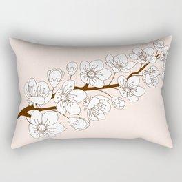 sakura twig in bloom on beigue Rectangular Pillow