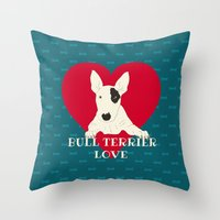 bull terrier Throw Pillows featuring Bull Terrier Love by ShaMiLa