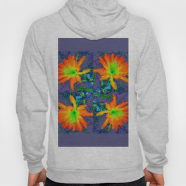 Puce Grey Tropical Red-Orange-Yellow Jungle Flowers Pattern Art Hoody