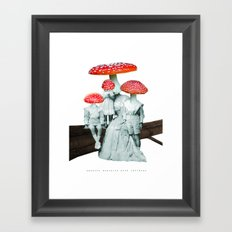 amanita muscaria with children Framed Art Print