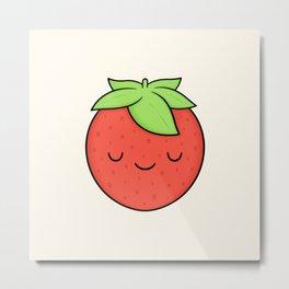 Happy Strawberry Metal Print