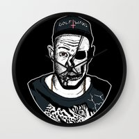 tyler the creator Wall Clocks featuring Golf Wang - Tyler The Creator Skull Ink Print by zombieCraig