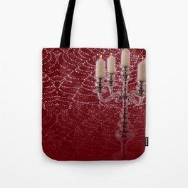 Red Damask Web Candelabra Tote Bag