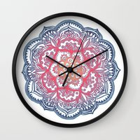 bedding Wall Clocks featuring Radiant Medallion Doodle by micklyn