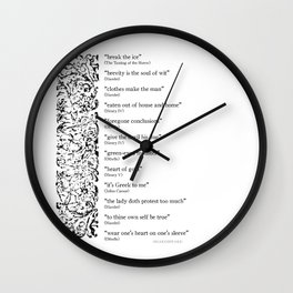 Words Words Words - William Shakespeare Quotations print Wall Clock