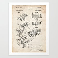 LEGO TOY BUILDING CONSTRUCTION BLOCKS 1961 PATENT ART PRINT MOVIE POSTER GIFT Art Print