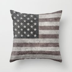 American flag, Retro desaturated look Throw Pillow