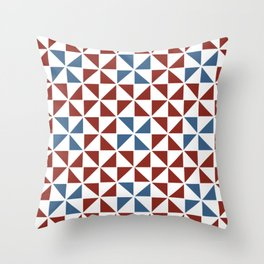 Pinwheel Quilt Pattern in Red and Blue Throw Pillow