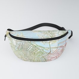 Amsterdam Map Art Watecolor by Zouzounio Art Fanny Pack