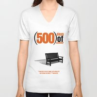 500 days of summer V-neck T-shirts featuring 500 Days Of Summer by FunnyFaceArt