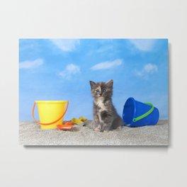 Kitten Fun in the Sun Beach Time Metal Print