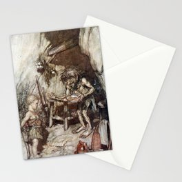 Arthur Rackham - Siegfried and the Twilight of the Gods (1911) - Mime and the infant Siegfried Stationery Cards
