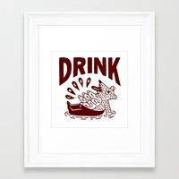drink Framed Art Prints featuring DRINK by stephenwilliamschudlich