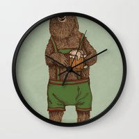 onesie Wall Clocks featuring Traditional German Bear by WanderingBert / David Creighton-Pester