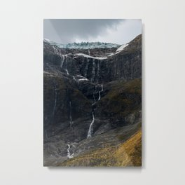 Icy Mountain Waterfall Landscape Metal Print