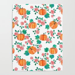 Pumpkins and Roses Poster