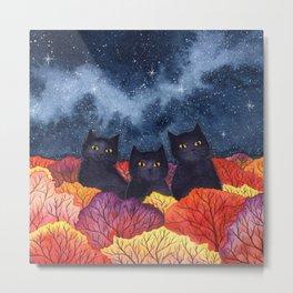Three Black Cats in Autumn Watercolor Metal Print