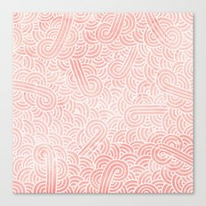 Rose quartz and white swirls doodles Canvas Print