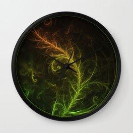 Fractal Hybrid of Guzmania Tuti Fruitti and Ferns Wall Clock