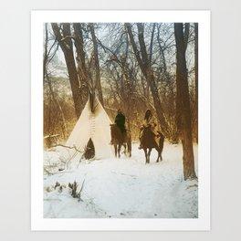 The winter camp - Crow (Apsaroke) Indians Art Print