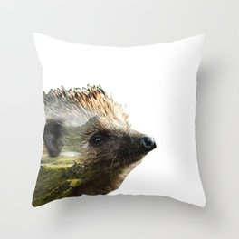 Hedgehog Double Exposure Throw Pillow