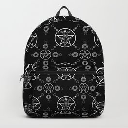 Baphomet Pentagram Pattern - White/Black Backpack