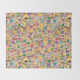 Emoticon pattern Throw Blanket