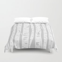 Woodcut Birches Grey Duvet Cover
